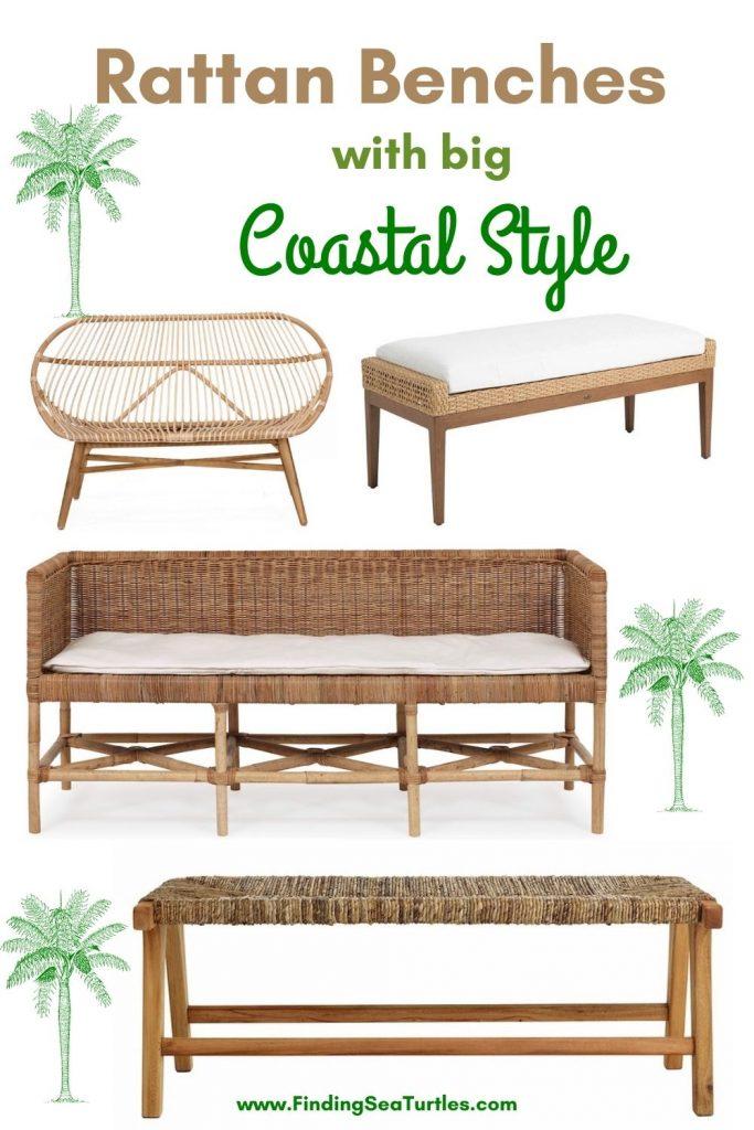 Rattan Benches with big Coastal Style #Benches #RattanBenches #Coastal #CoastalRattanBenches #CoastalEntryway #CoastalBedroom #HomeDecor #EntrywayBenches #BeachHouse #SummerHouse #LakeHouse #CoastalHome
