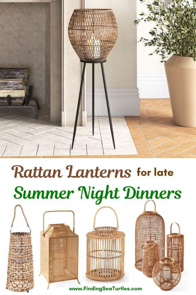 Rattan Lanterns for late Summer Night Dinners #rattan #RattanLanterns #BeachHome #CoastalDecor #IslandDecor #SeasideDecor #TropicalIslandDecor #BeachHomeDecor