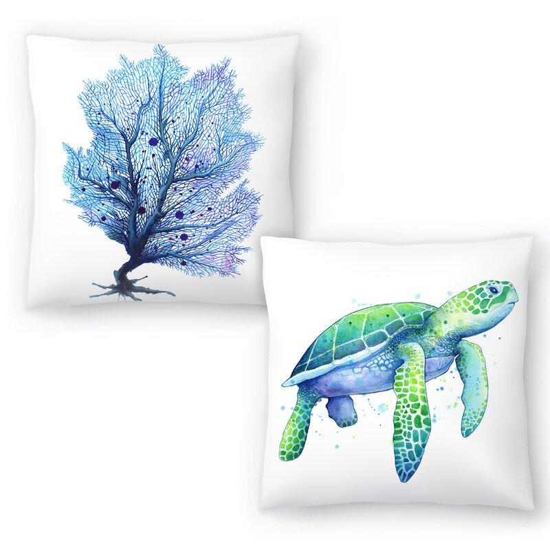 Coastal Beach House Pillows Sam Nagel Sea Turtle and Fan Coral pillow set #Pillows #ThrowPillows #BeachHome #CoastalDecor #SeasideDecor #IslandDecor #TropicalIslandDecor #BeachHomeDecor