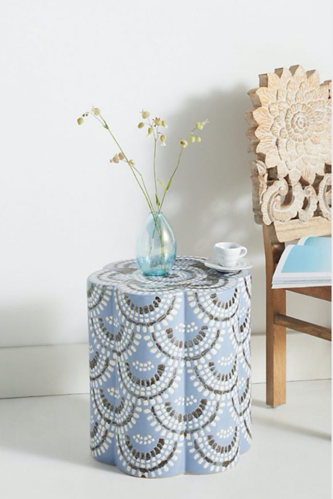 Seaside Style Scalloped Ceramic Side Table #CeramicTables #AccentTables #GardenStools #BeachHome #CoastalDecor #SeasideDecor #IslandDecor #TropicalIslandDecor #BeachHouse