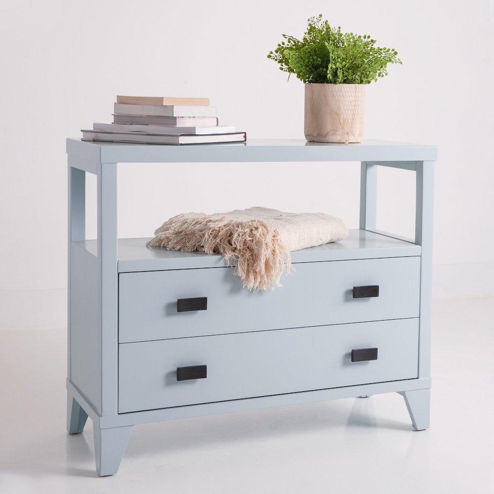 Seaside Style Solid Wood 2 Drawer End Table #EndTables #SideTables #CoastalEndTables #BeachHome #CoastalDecor #SeasideDecor #IslandDecor #TropicalIslandDecor #BeachHouse