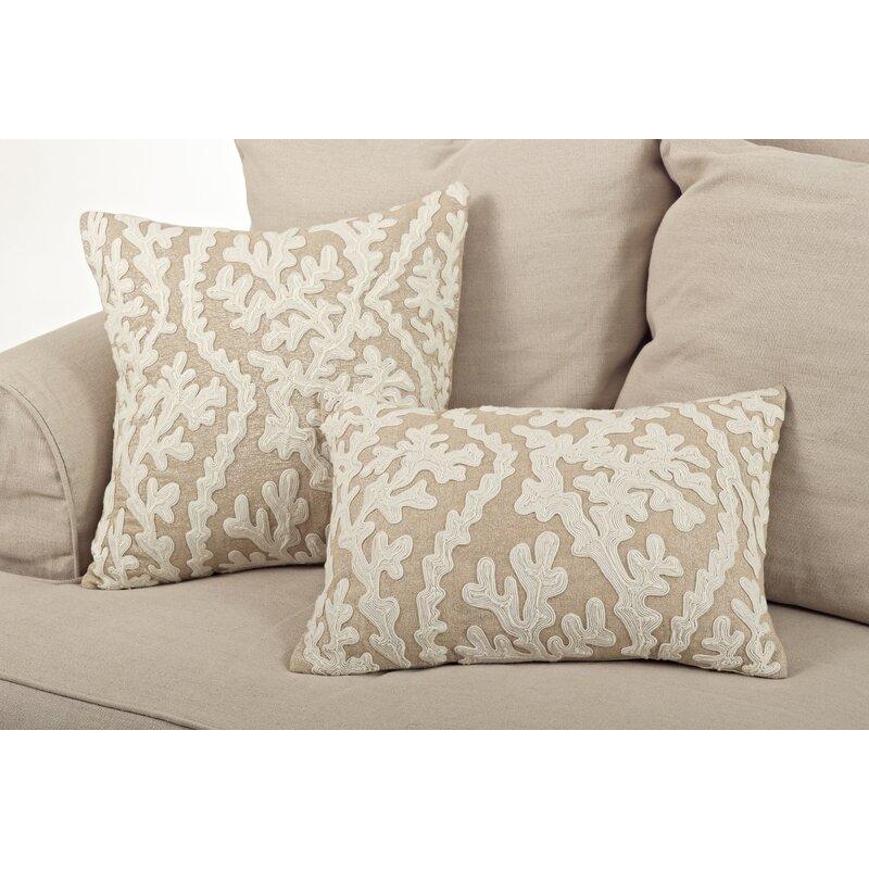 Coastal Beach House Pillows Tara Dori Embroidered Cotton Throw Pillow #Pillows #ThrowPillows #BeachHome #CoastalDecor #SeasideDecor #IslandDecor #TropicalIslandDecor #BeachHomeDecor