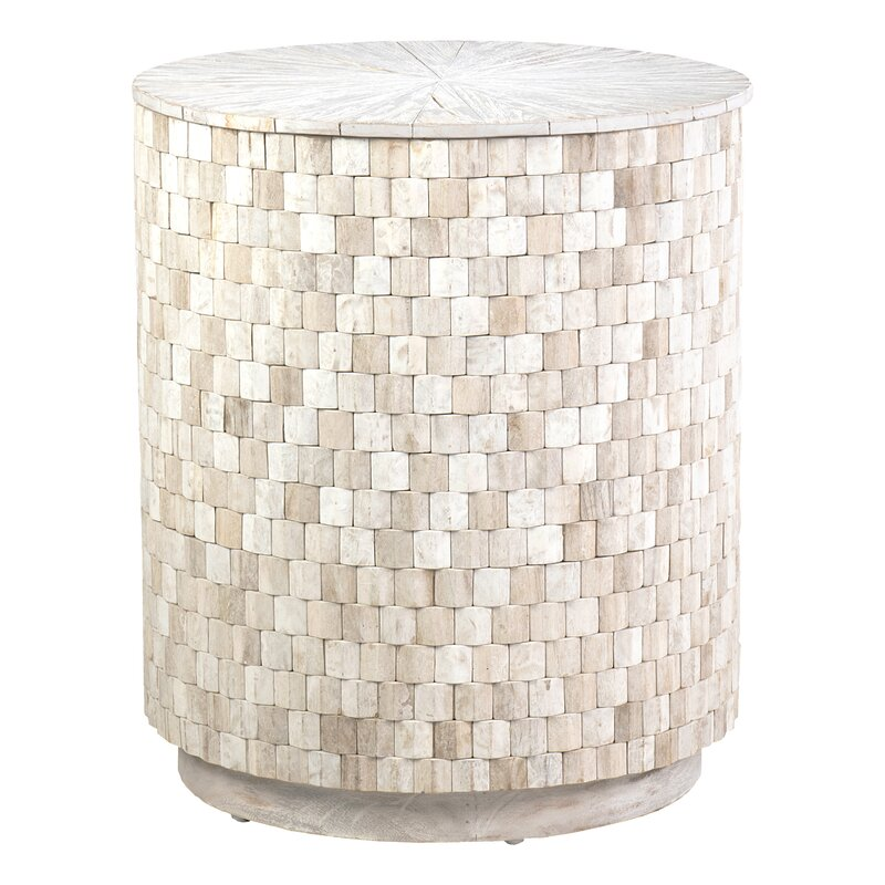 Beach House Decor Trumann Solid Wood Drum End Table with Storage #DrumTables #SideTables #CoastalDrumTables #BeachHome #CoastalDecor #SeasideDecor #IslandDecor #TropicalIslandDecor #BeachHouse #LakeHouse