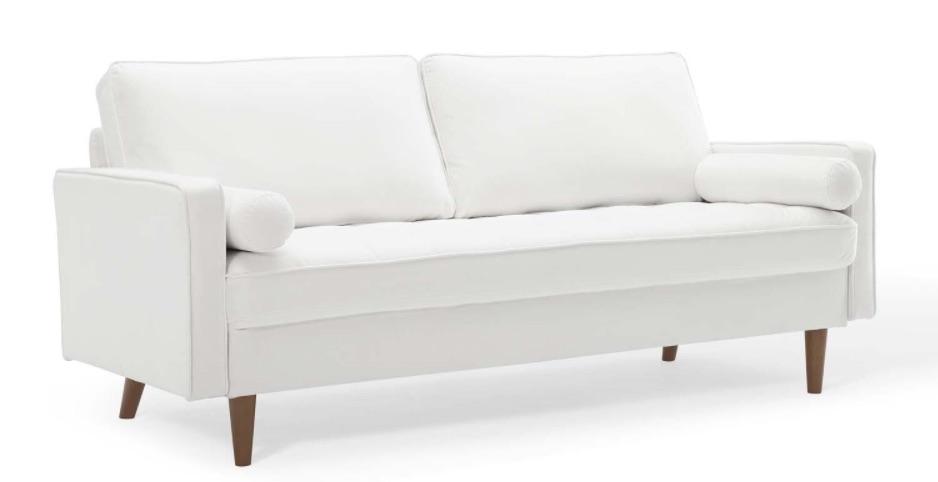 Coastal White Sofas Tuxedo Sofa with Wood Legs #Sofas #CoastalSofas #BeachHome #CoastalDecor #SeasideDecor #IslandDecor #TropicalIslandDecor #BeachHomeSofas