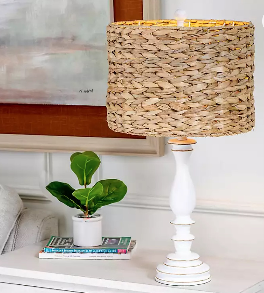 Seaside Style White Table Lamp with Hand Woven Raffia Shade #Lamps #TableLamps #BeachHome #CoastalDecor #SeasideDecor #IslandDecor #TropicalIslandDecor #BeachHomeDecor #LivingRoom #Bedroom
