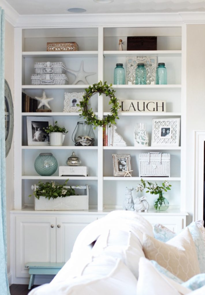 Coastal Bookshelf Decor Ideas Starfish Decor #Coastal #CoastalDecor #Bookshelves #ShelfDecor #BeachHouse #BeachHome #LakeHouse #CoastalDecor #SeasideDecor #IslandDecor #TropicalIslandDecor