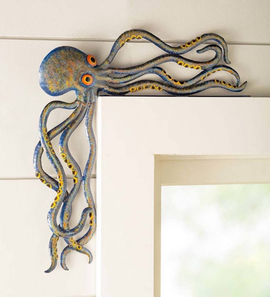 Add a Playful Touch Handcrafted Reclaimed Metal Octopus Door Crawler #Coastal #CoastalDecorTips #BeachHouse #BeachHome #LakeHouse #CoastalDecor #SeasideDecor #IslandDecor #TropicalIslandDecor