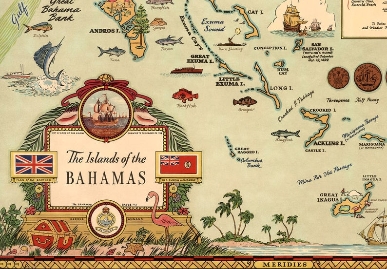 Marine Elements Islands of the Bahamas Map #Coastal #CoastalDecorTips #BeachHouse #BeachHome #LakeHouse #CoastalDecor #SeasideDecor #IslandDecor #TropicalIslandDecor