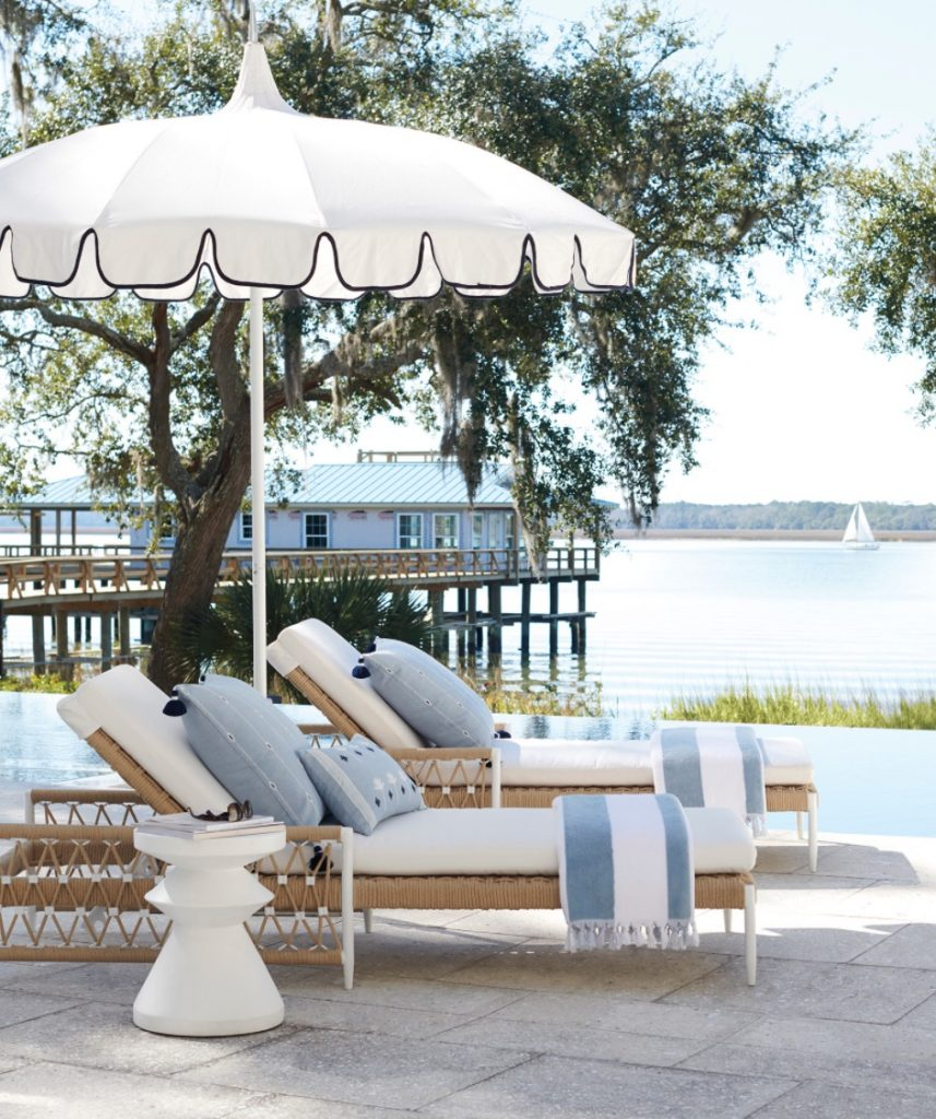 Elevate Your Outdoor Space Seaside Style Outdoor Patio by Infinity Pool #Coastal #CoastalDecorTips #BeachHouse #BeachHome #LakeHouse #CoastalDecor #SeasideDecor #IslandDecor #TropicalIslandDecor