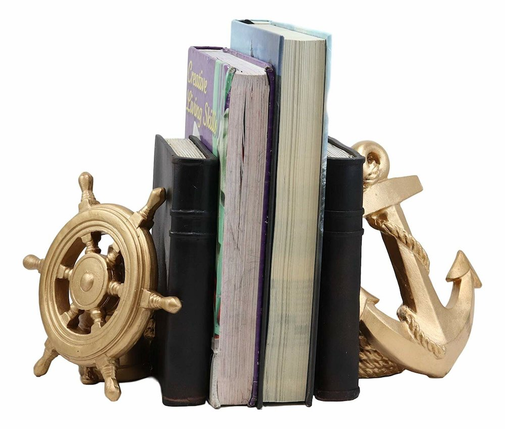 Marine Elements Ship Anchor And Captain's Helm Wheel Bookends #Coastal #CoastalDecorTips #BeachHouse #BeachHome #LakeHouse #CoastalDecor #SeasideDecor #IslandDecor #TropicalIslandDecor