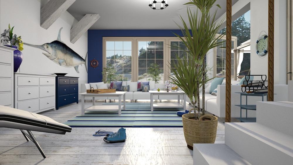 Summer House Swordfish Living Room that Opens to the Outdoors #Coastal #CoastalDecorTips #BeachHouse #BeachHome #LakeHouse #CoastalDecor #SeasideDecor #IslandDecor #TropicalIslandDecor