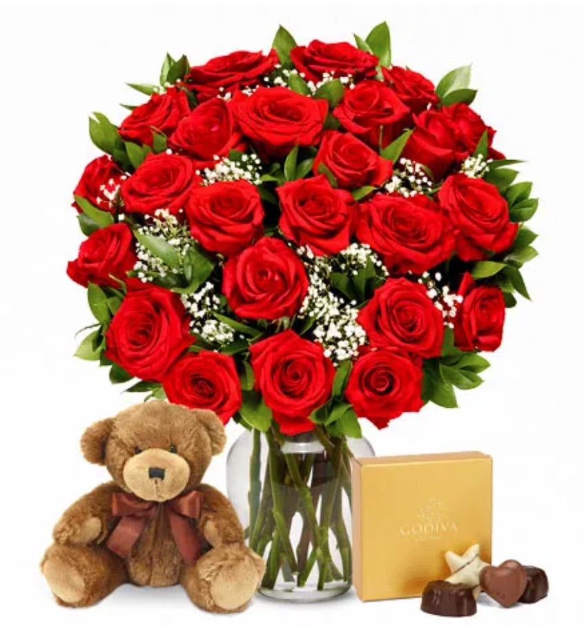 Celebrate the Season of Love Two Dozen Red Roses with Chocolates and Teddy Bear by Send Flowers #flowers #FlowerDelivery #bouquets #OnlineFlowers #FlowersOnline #ValentinesDay #ValentinesFlowers #SendFlowers