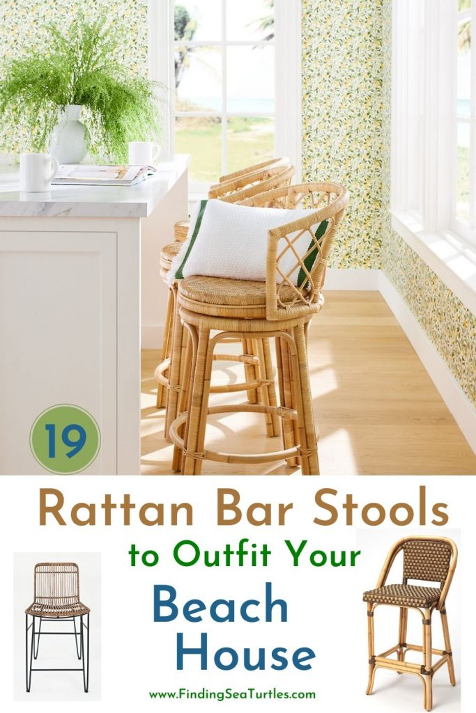 19 Rattan Bar Stools to Outfit your Beach House #BarStools #CoastalBarStools #Coastal #CoastalDecor #HomeDecor #KitchenBarStools #BeachHouse #SummerHouse #LakeHouse #CoastalHome