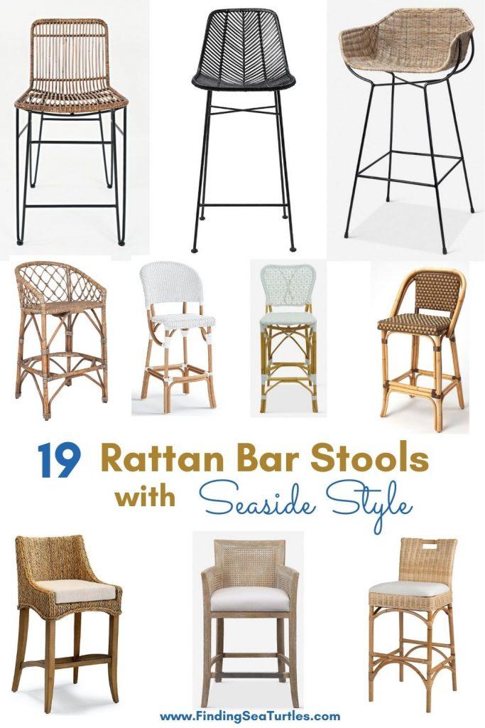 19 Rattan Bar Stools with Seaside Style #BarStools #CoastalBarStools #Coastal #CoastalDecor #HomeDecor #KitchenBarStools #BeachHouse #SummerHouse #LakeHouse #CoastalHome