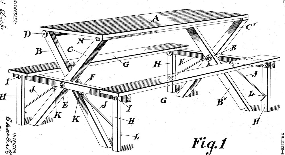 1903 patent application by Charles H. Nielsen of Kreischerville, New York #Picnic #PicnicTables #Backyard #FamilyPicnic #FamilyFun #BackyardPicnicTable #BeachHouse #SummerHouse #LakeHouse #CoastalHome #Summer