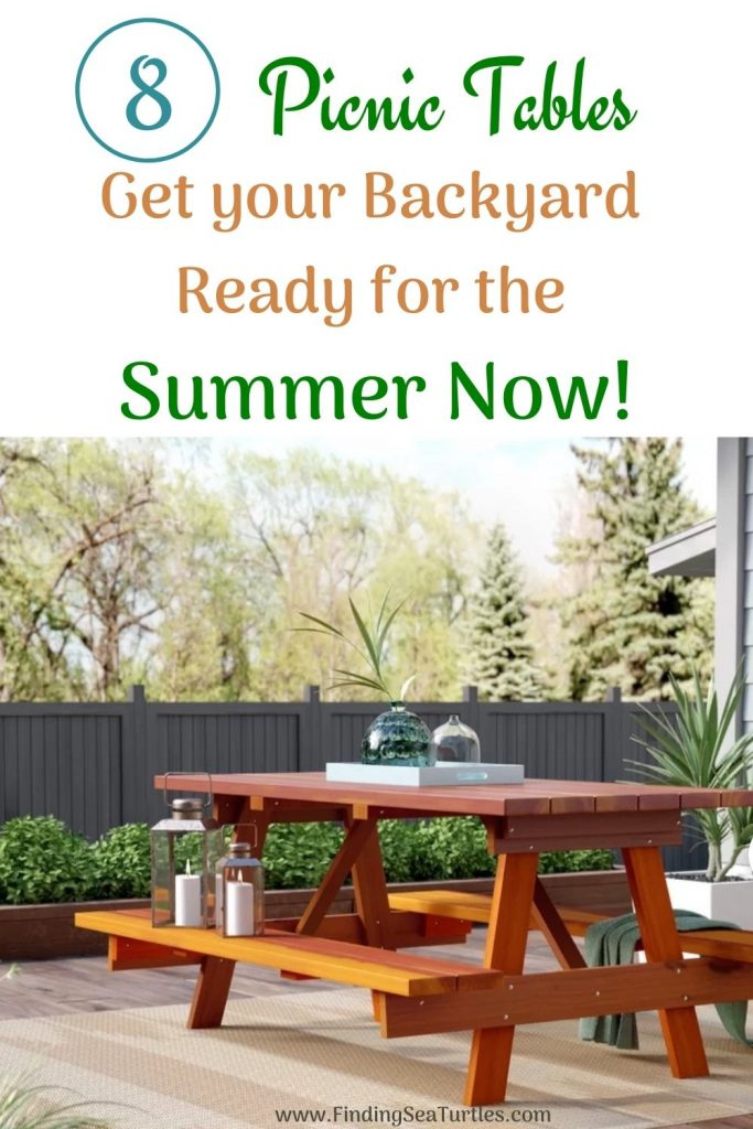 8 Picnic Tables Get your Backyard Ready for the Summer Now #Picnic #PicnicTables #Backyard #FamilyPicnic #FamilyFun #BackyardPicnicTable #BeachHouse #SummerHouse #LakeHouse #CoastalHome
