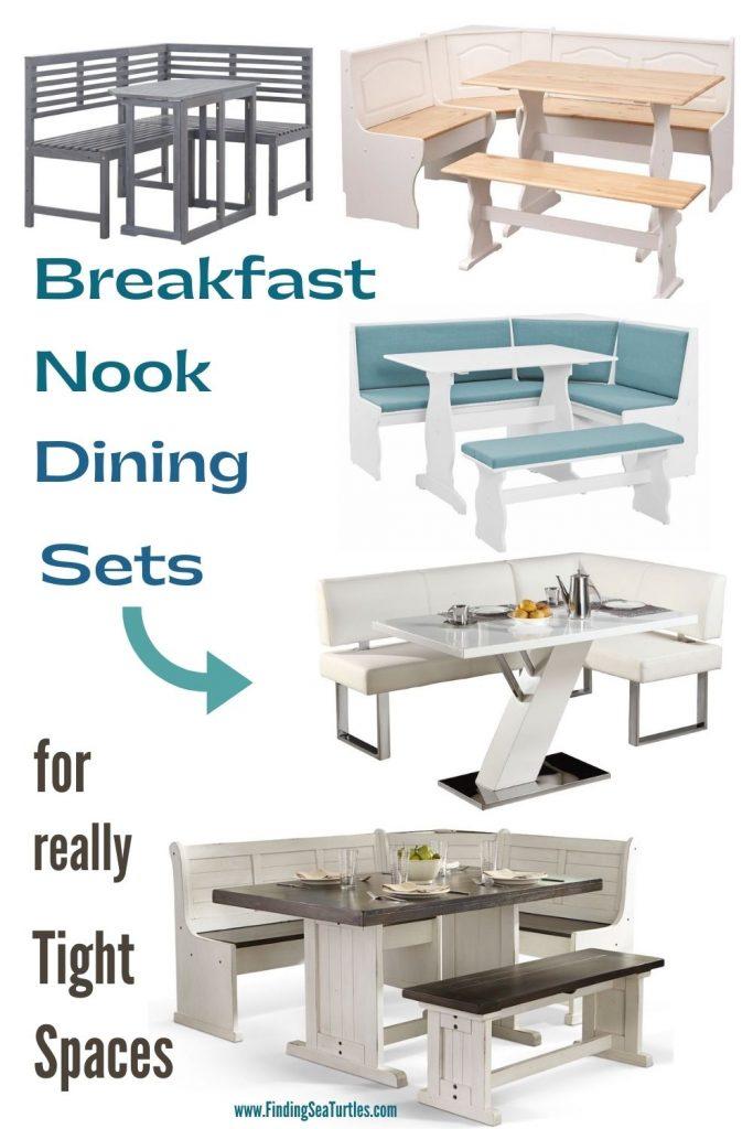 Breakfast Nook Dining Sets for really Tight Spaces #Coastal #DiningRoom #BreakfastNook #DiningSets #CoastalDiningRoom #CoastalDiningSets #CoastalDecor #CoastalHomeDecor #BeachHouse #SeasideStyle #LakeHouse #SummerHouse