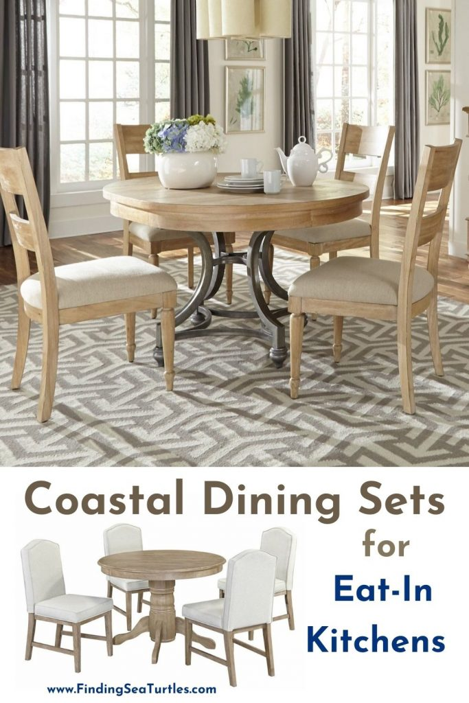 Coastal Dining Sets for Eat In Kitchens #Coastal #DiningRoom #CoastalDiningRoom #CoastalDiningSets #CoastalDecor #CoastalHomeDecor #BeachHouse #SeasideStyle #LakeHouse #SummerHouse #DiningRoomAccessories
