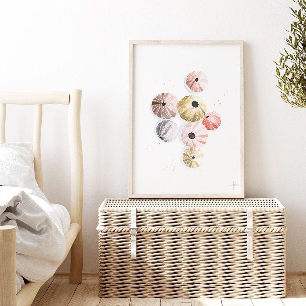 Color Your Bedroom with Sea Urchin Shells #Art #WallArt #WallArtIdeas #CoastalArt #CoastalWallArt #Entryway #HomeDecor #ConsoleTableDecor #LivingRoomArt #ArtFortheHome #HomeDecorTips #StylingTips