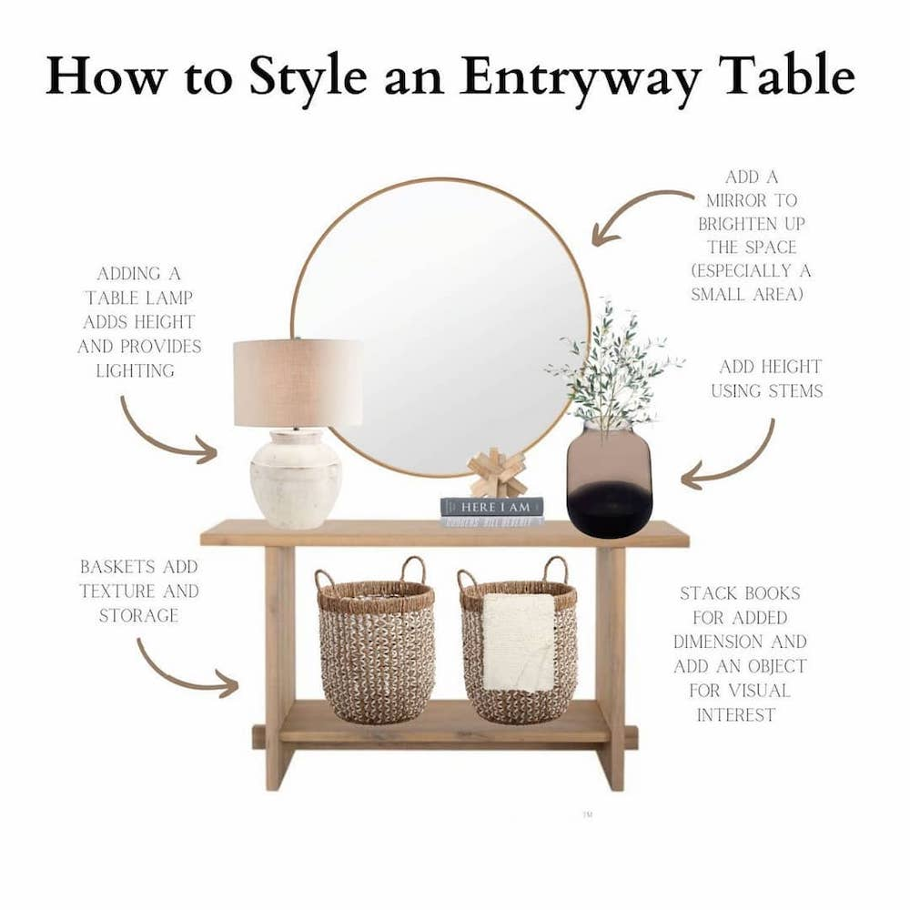 Drape a Throw Over a Basket #StyleAConsoleTable #Entryway #Foyer #ConsoleTable #HomeDecor #ConsoleTableDecor #HallwayTable #HomeDecorTips #StylingTips