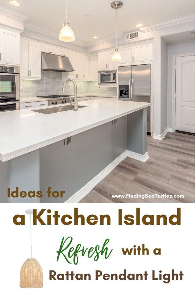 Ideas for a Kitchen Island Refresh with a Rattan Pendant Light #Coastal #Rattan #RattanPendant #InspirationalDecor #DecorIdeas #DiningRoom #CoastalDiningRoom #CoastalKitchen #CoastalDecor #CoastalHomeDecor #BeachHouse #SeasideStyle #LakeHouse #SummerHouse