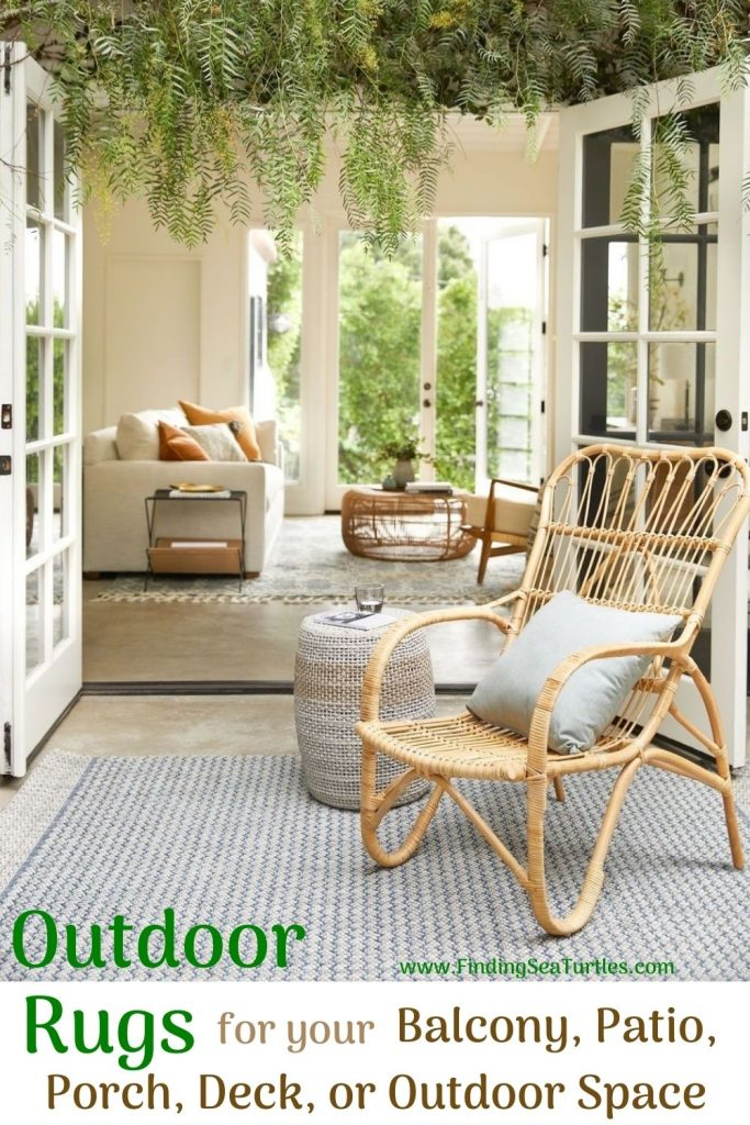 Outdoor Rugs for your Balcony Patio Porch Deck or Outdoor Space #OutdoorRugs #CoastalOutdoorRugs #Coastal #PatioRugs #HomeDecor #Entryway #BeachHouse #SummerHouse #LakeHouse #CoastalHome