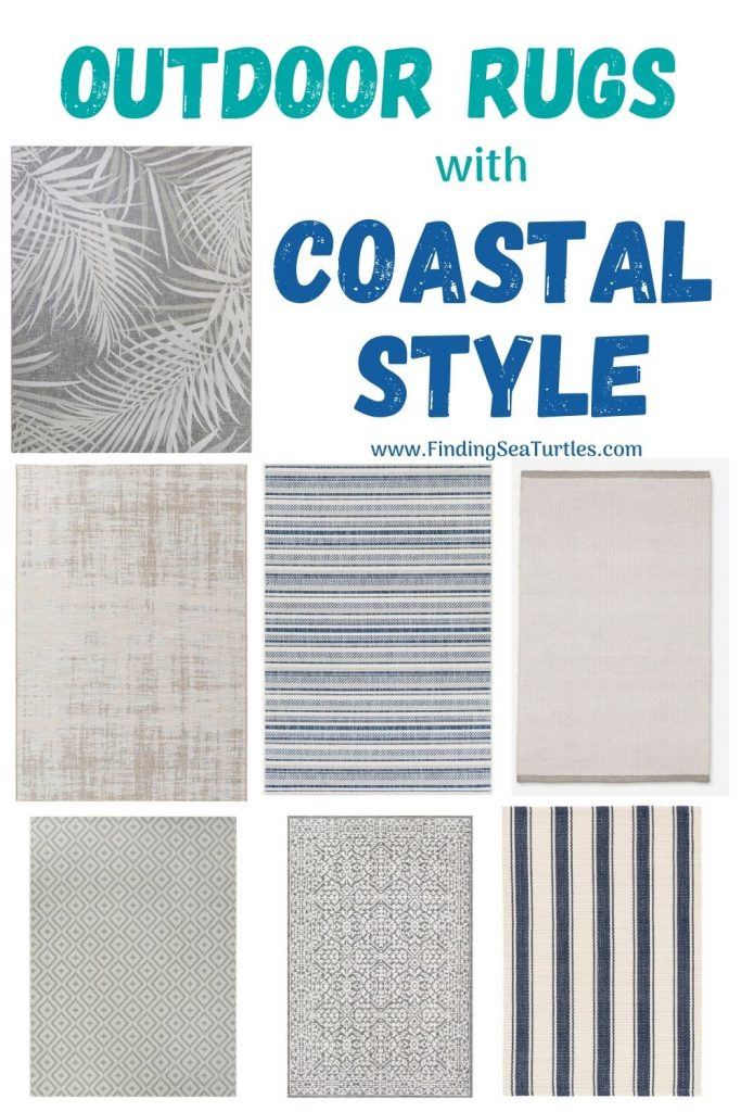 Outdoor Rugs with Coastal Style #OutdoorRugs #CoastalOutdoorRugs #Coastal #PatioRugs #HomeDecor #Entryway #BeachHouse #SummerHouse #LakeHouse #CoastalHome