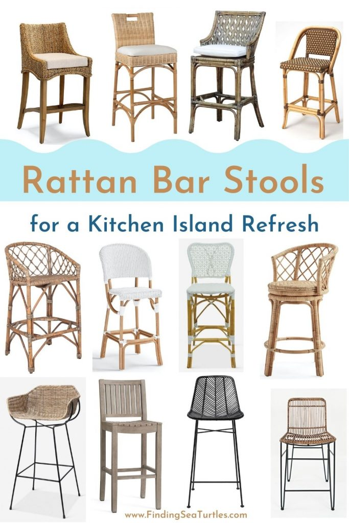 Rattan Bar Stools for a Kitchen Island Refresh #BarStools #CoastalBarStools #Coastal #CoastalDecor #HomeDecor #KitchenBarStools #BeachHouse #SummerHouse #LakeHouse #CoastalHome