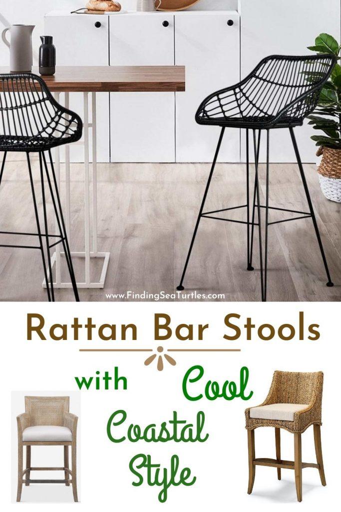 Rattan Bar Stools with Cool Coastal Style #BarStools #CoastalBarStools #Coastal #CoastalDecor #HomeDecor #KitchenBarStools #BeachHouse #SummerHouse #LakeHouse #CoastalHome