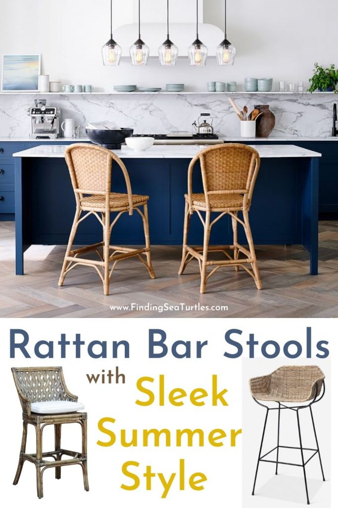 Rattan Bar Stools with Sleek Summer Style #BarStools #CoastalBarStools #Coastal #CoastalDecor #HomeDecor #KitchenBarStools #BeachHouse #SummerHouse #LakeHouse #CoastalHome