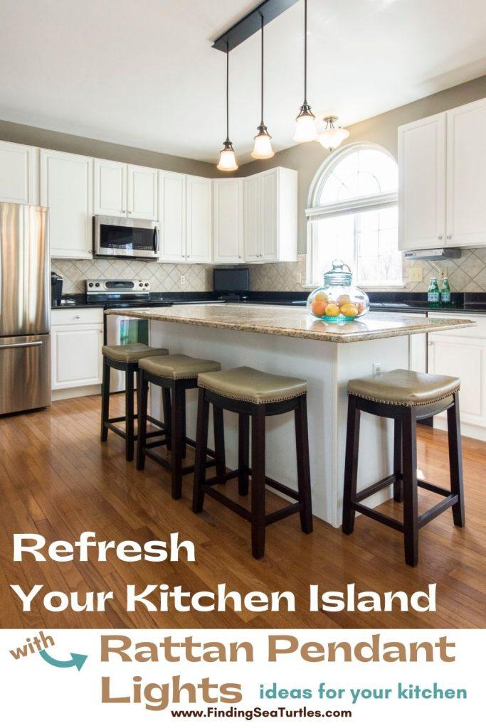 Refresh your Kitchen Island with Rattan Pendant Lights #Coastal #Rattan #RattanPendant #InspirationalDecor #DecorIdeas #DiningRoom #CoastalDiningRoom #CoastalKitchen #CoastalDecor #CoastalHomeDecor #BeachHouse #SeasideStyle #LakeHouse #SummerHouse