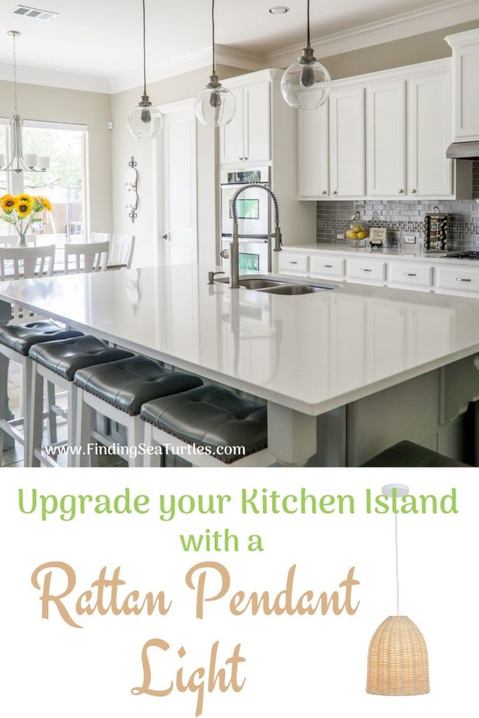 Upgrade your Kitchen Island with a Rattan Pendant Light #Coastal #Rattan #RattanPendant #InspirationalDecor #DecorIdeas #DiningRoom #CoastalDiningRoom #CoastalKitchen #CoastalDecor #CoastalHomeDecor #BeachHouse #SeasideStyle #LakeHouse #SummerHouse