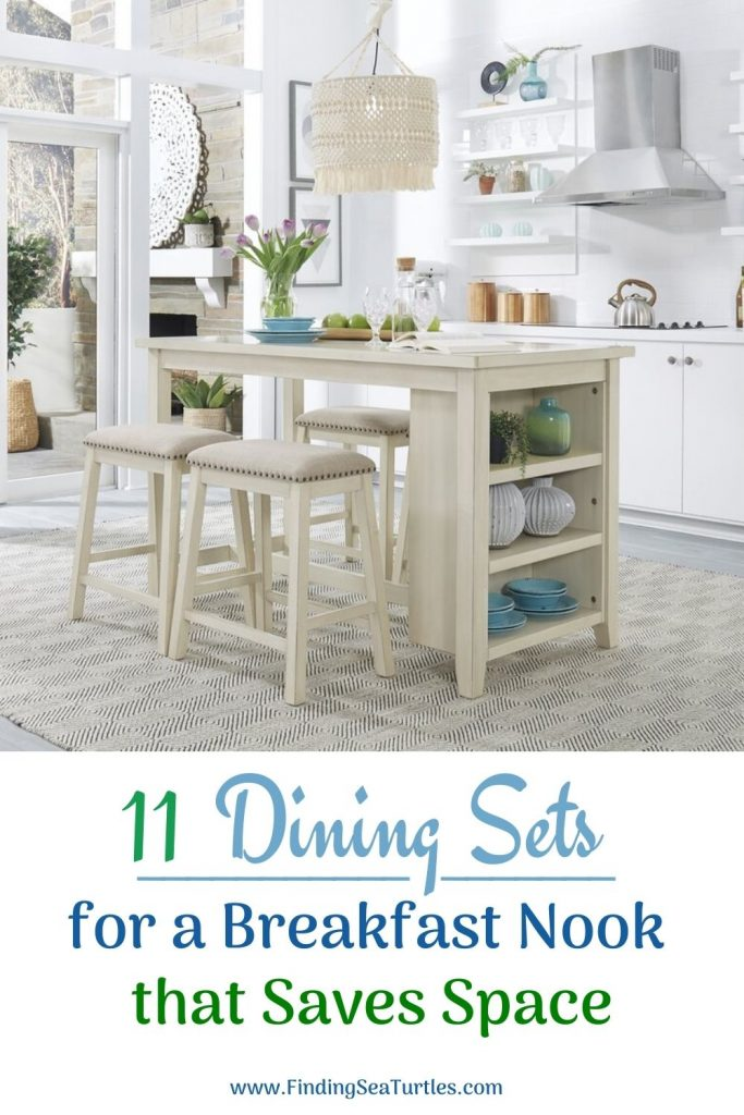 11 Dining Sets for a Breakfast Nook that Saves Space #Coastal #DiningRoom #BreakfastNook #DiningSets #CoastalDiningRoom #CoastalDiningSets #CoastalDecor #CoastalHomeDecor #BeachHouse #SeasideStyle #LakeHouse #SummerHouse