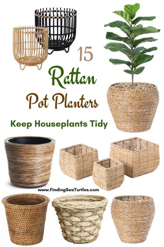 15 Rattan Pot Planters Keep Houseplants Tidy #Coastal #Boho #Planters #PotPlanters #RattanPotPlanters #CoastalDecor #CoastalHome #CoastalLiving #GoGreen #GreenLiving #Sustainable #EcoFriendly #BohoDecor