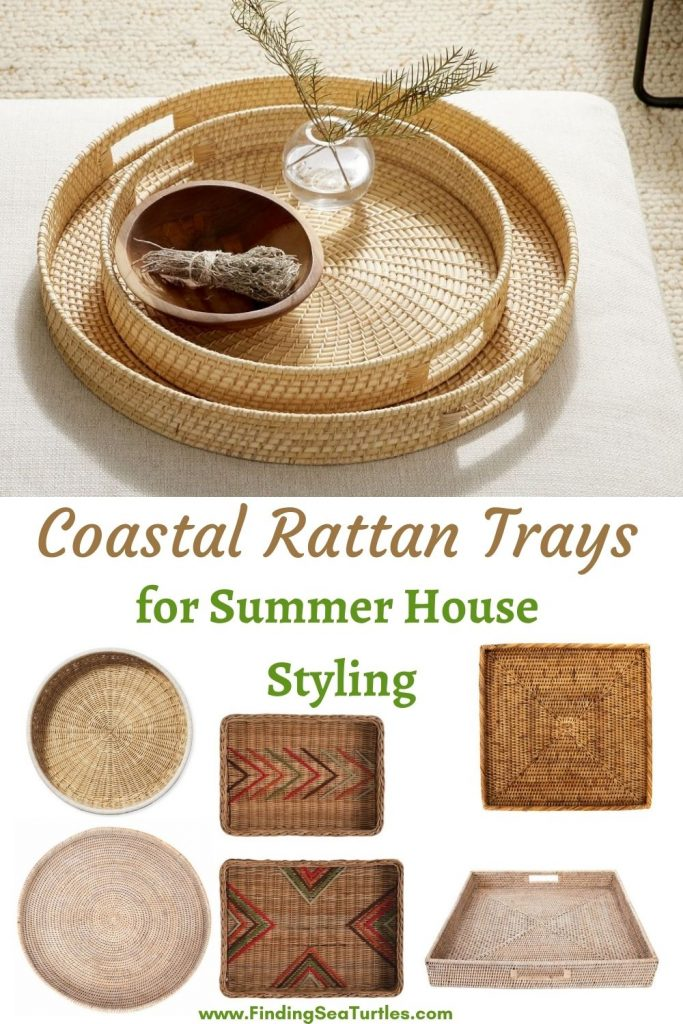 Coastal Rattan Trays for Summer House Styling #Coastal #Trays #RattanTrays #CoastalDecor #HomeDecor #CoastalHomeDecor #CoastalHome #CoastalLiving #BeachHouse #SeasideStyle #LakeHouse #SummerHouse #CoastalBohoDecor