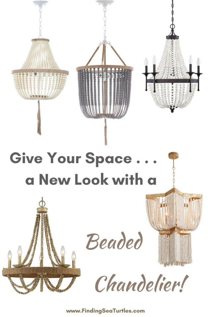 Give Your Space . . . a new Look with a Beaded Chandelier #Coastal #Boho #Chandeliers #BeadedChandeliers #CoastalLighting #CoastalDecor #DiningRoom #Entryway #Foyer #DecorIdeas #Inspo #CoastalLiving #HomeDecorTipsAndTricks #HomeDecor