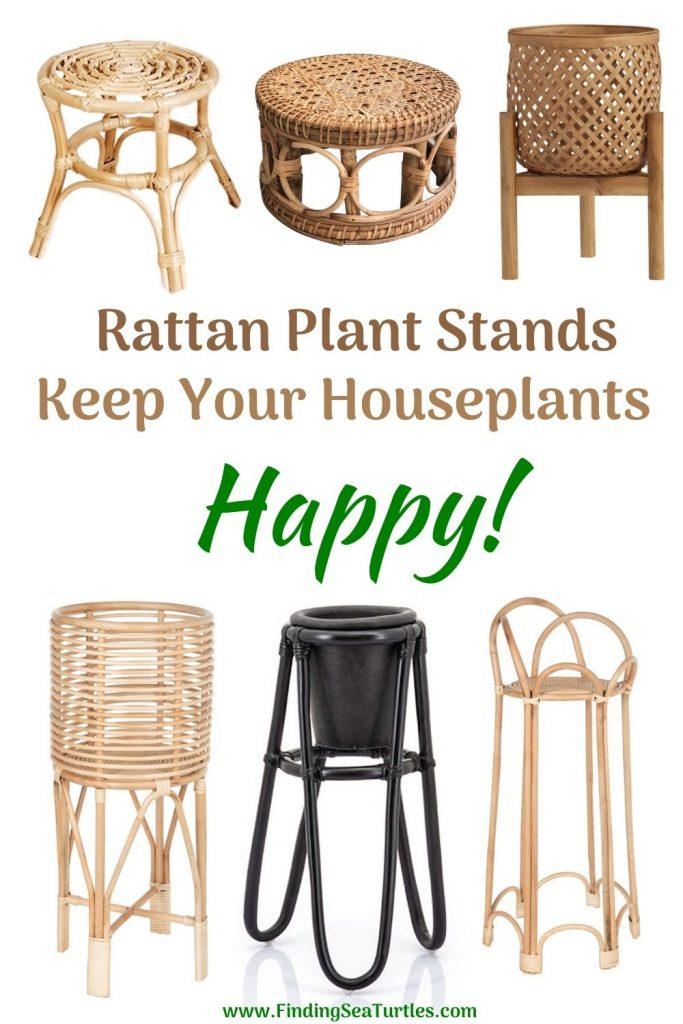 Rattan Plant Stands Keep Your Houseplants Happy #Coastal #Boho #PlantStands #RattanPlantStands #CoastalPlantStands #CoastalDecor #CoastalHome #CoastalLiving #BeachHouse #LakeHouse #SummerHouse #BohoDecor