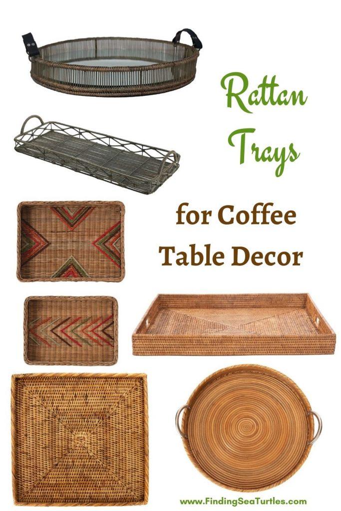 Rattan Trays for Coffee Table Decor #Coastal #Trays #RattanTrays #CoastalDecor #HomeDecor #CoastalHomeDecor #CoastalHome #CoastalLiving #BeachHouse #SeasideStyle #LakeHouse #SummerHouse #CoastalBohoDecor