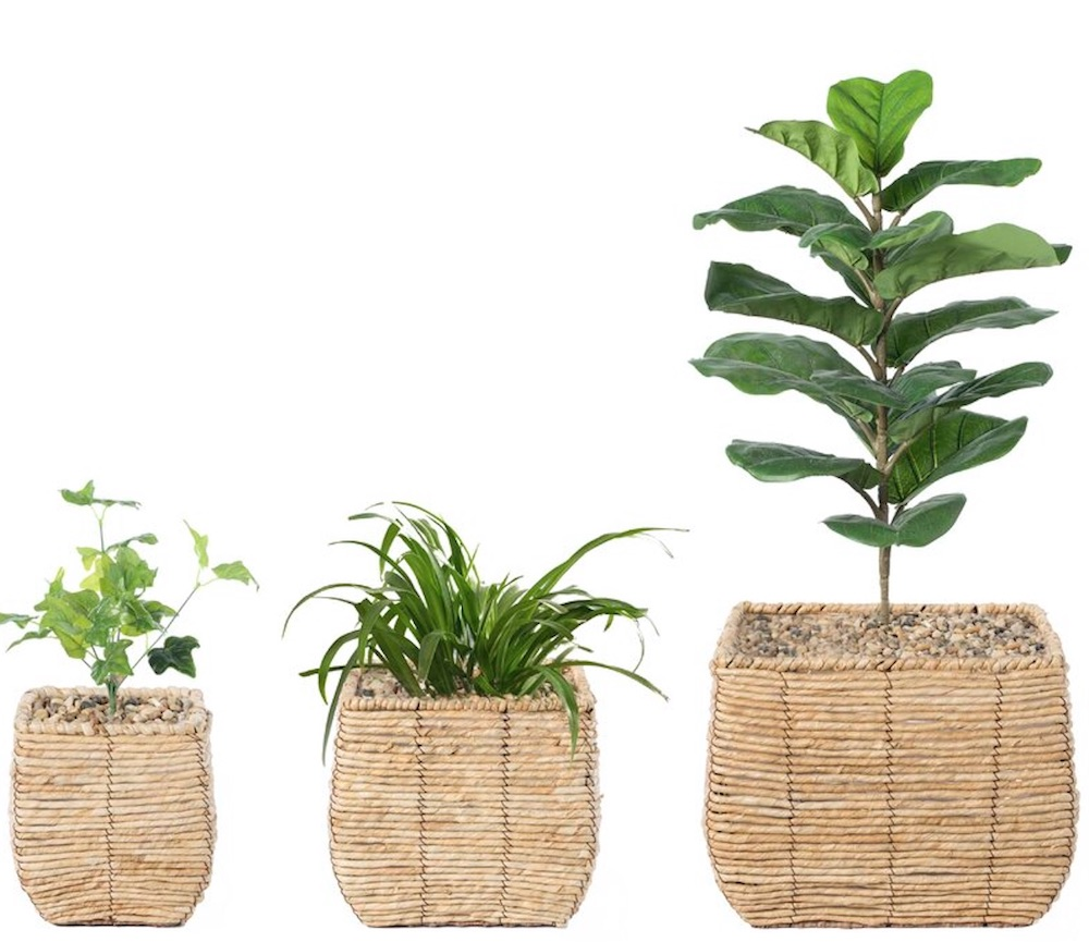Self Watering Wicker Pot Planter Set #Coastal #Boho #Planters #PotPlanters #RattanPotPlanters #CoastalDecor #CoastalHome #CoastalLiving #GoGreen #GreenLiving #Sustainable #EcoFriendly #BohoDecor