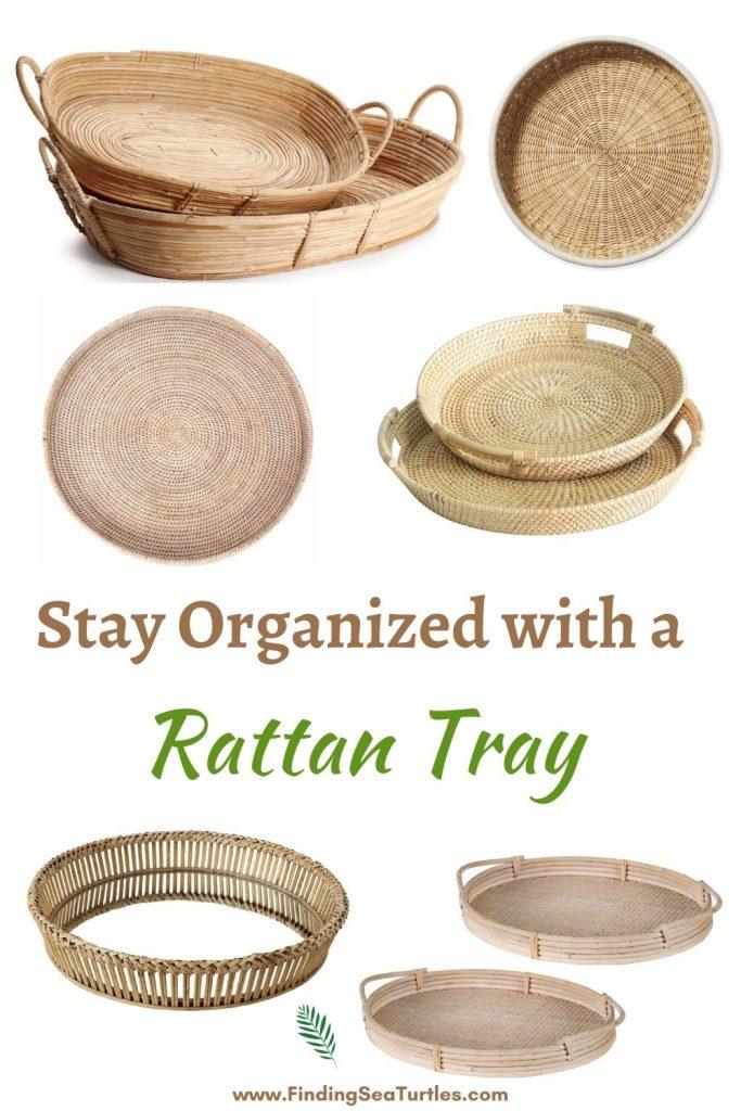 Stay Organized with a Rattan Tray #Coastal #Trays #RattanTrays #CoastalDecor #HomeDecor #CoastalHomeDecor #CoastalHome #CoastalLiving #BeachHouse #SeasideStyle #LakeHouse #SummerHouse #CoastalBohoDecor