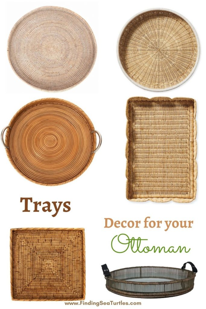 Trays Decor for your Ottoman #Coastal #Trays #RattanTrays #CoastalDecor #HomeDecor #CoastalHomeDecor #CoastalHome #CoastalLiving #BeachHouse #SeasideStyle #LakeHouse #SummerHouse #CoastalBohoDecor