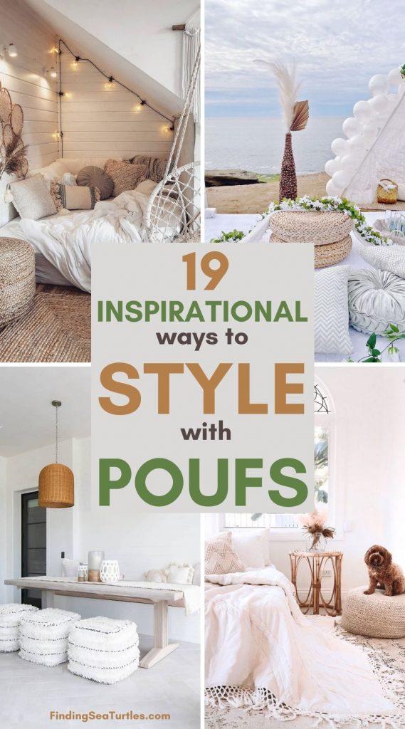 19 Inspirational ways to Style with Poufs #Poufs #Boho #BohoCoastal #CoastalDecor #HomeDecor