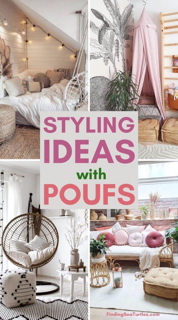 STYLING Ideas with Poufs #Poufs #Boho #BohoCoastal #CoastalDecor #HomeDecor