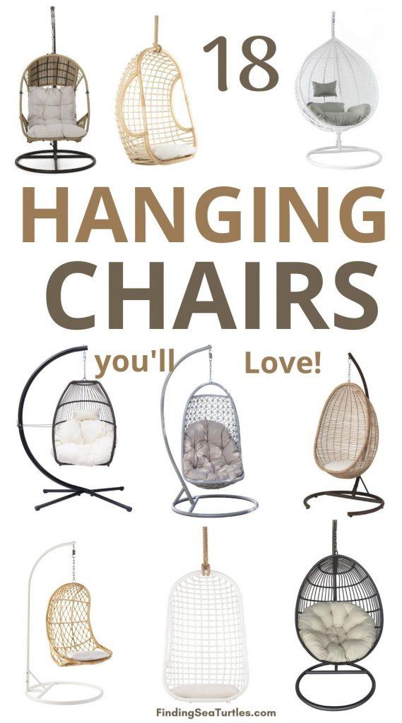 18 Hanging Chairs you'll love #HangingChair #HangingRattanChair #CoastalChair #CoastalDecor #BeachHouse
