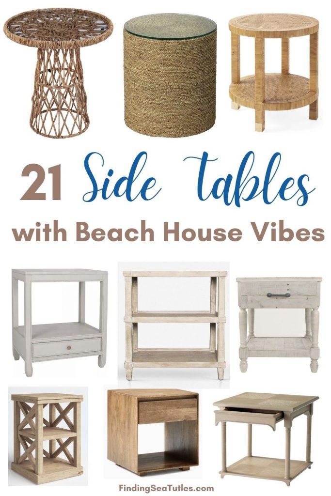 21 Side Tables with Beach House Vibes #CoastalDecor #HomeDecor #BeachHouse