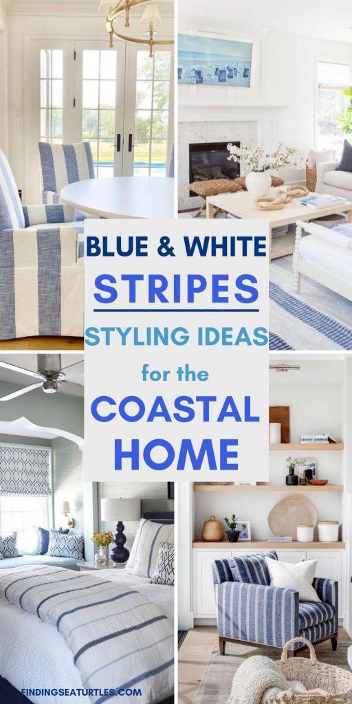 BLUE & WHITE Stripes Styling Ideas for the Coastal Home #Sofas #CoastalSofas #BlueandWhiteStripedSofas #CoastalDecor #BeachHouse