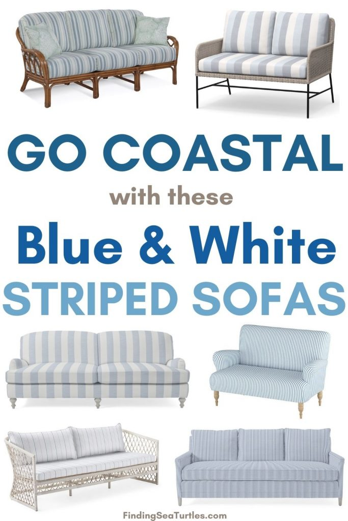 Go Coastal with these Blue White Striped Sofas #Sofas #CoastalSofas #BlueandWhiteStripedSofas #CoastalDecor #BeachHouse