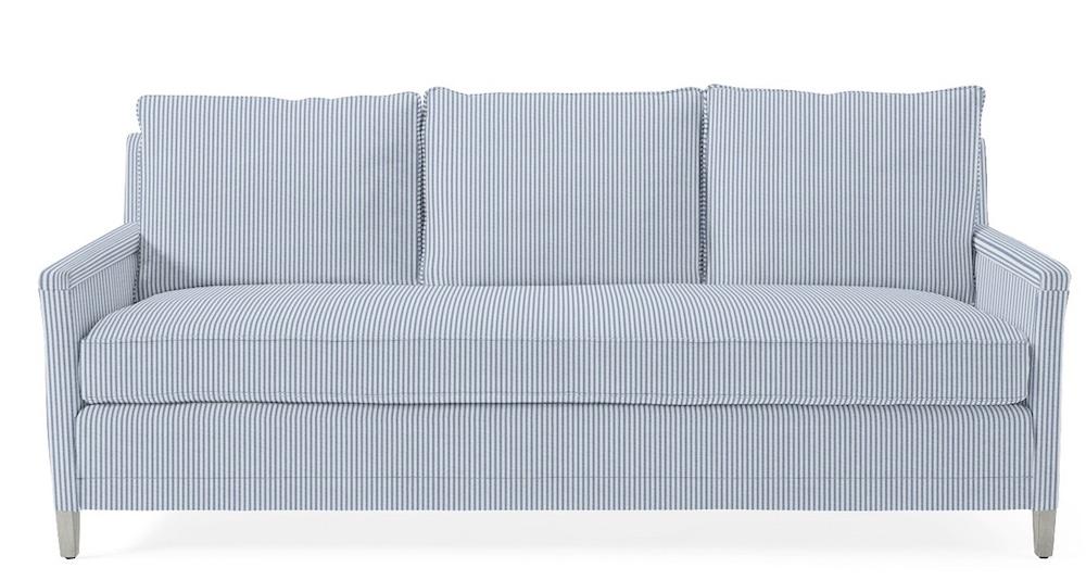 Blue and White Stripes Styling Ideas Spruce Street Sofa Pinstripe French Blue #Sofas #CoastalSofas #BlueandWhiteStripedSofas #CoastalDecor #BeachHouse