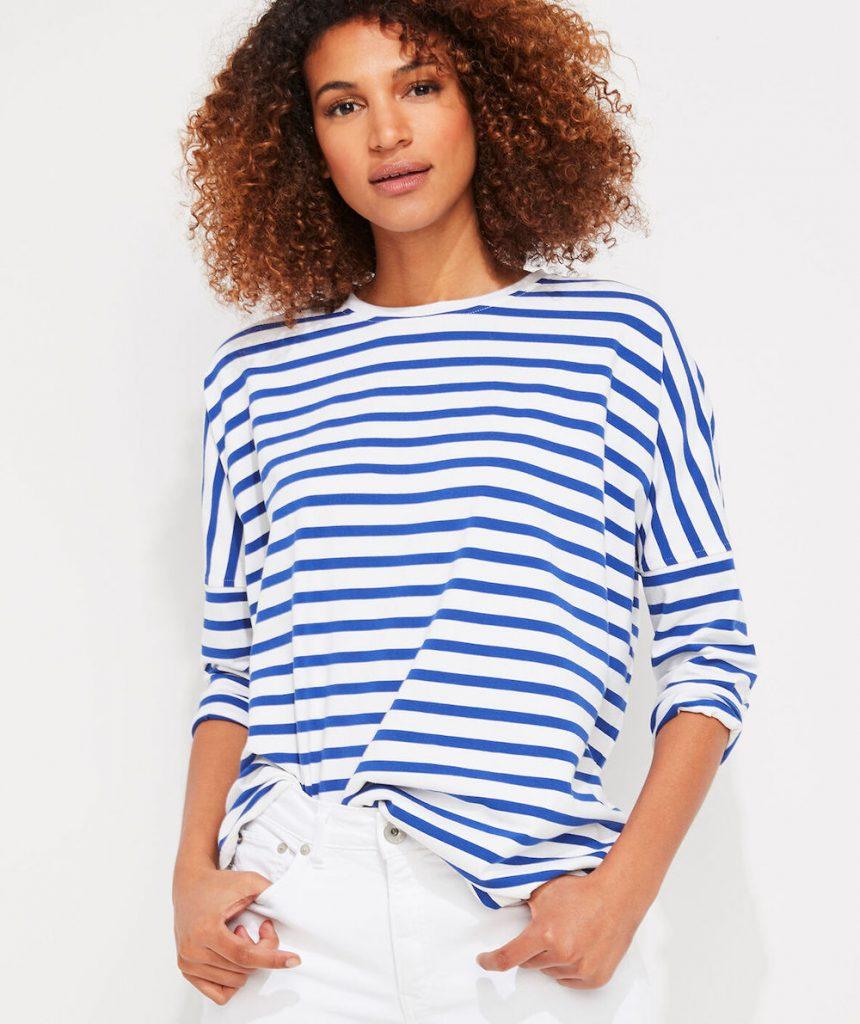 Striped Deluxe Tee #FrenchSeamenShirt #CoastalSofas #BlueandWhiteStripes #CoastalDecor #BeachHouse