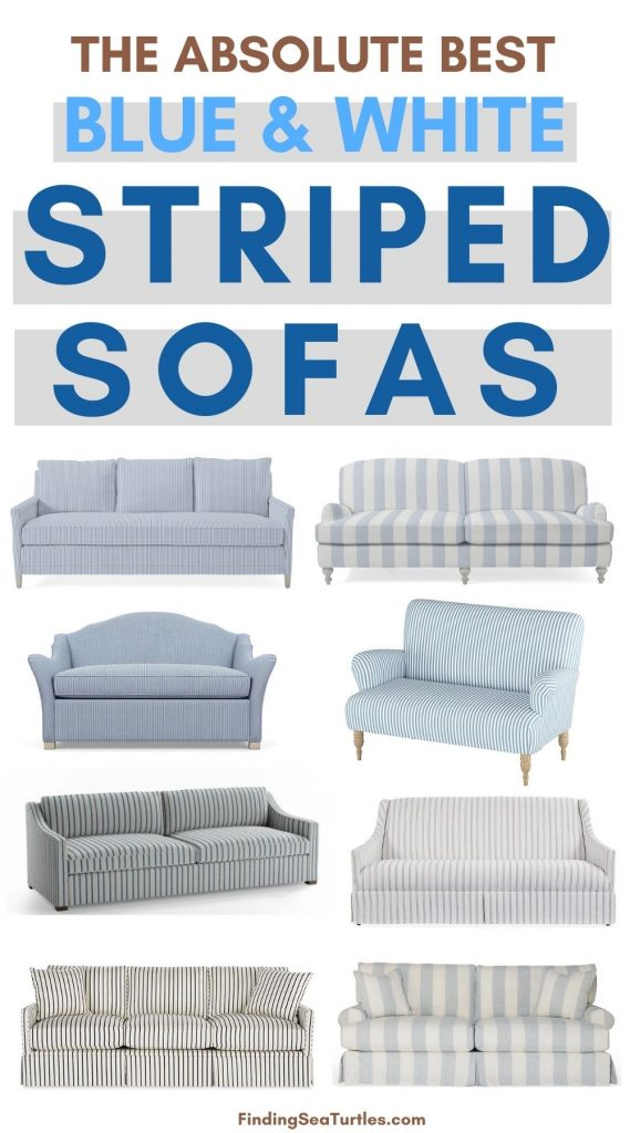 THE ABSOLUTE BEST Blue White Striped Sofas #Sofas #CoastalSofas #BlueandWhiteStripedSofas #CoastalDecor #BeachHouse